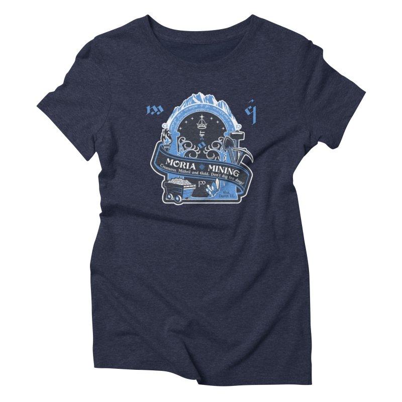 Moria Mining in Women's Triblend T-Shirt Navy by Q101 Shop