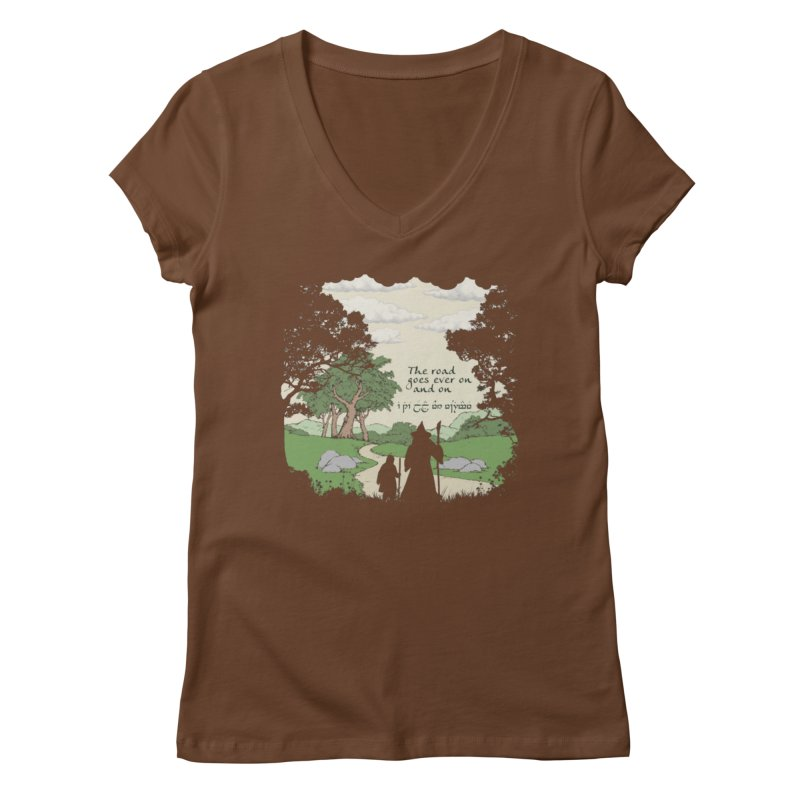 The road goes ever on and on Women's Regular V-Neck by Q101 Shop