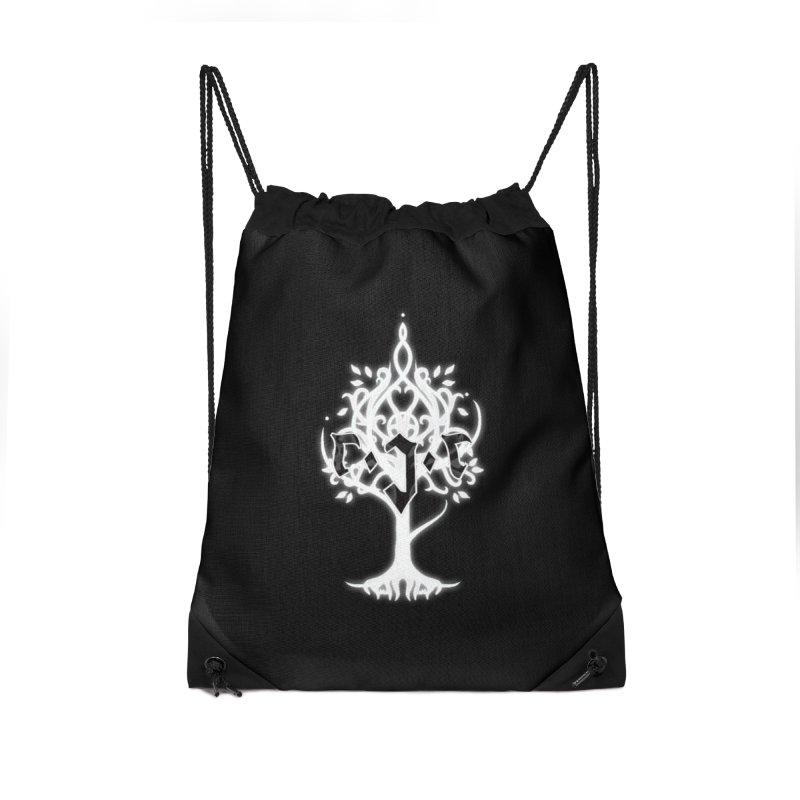 White Tree Awards VII Accessories Drawstring Bag Bag by Q101 Shop