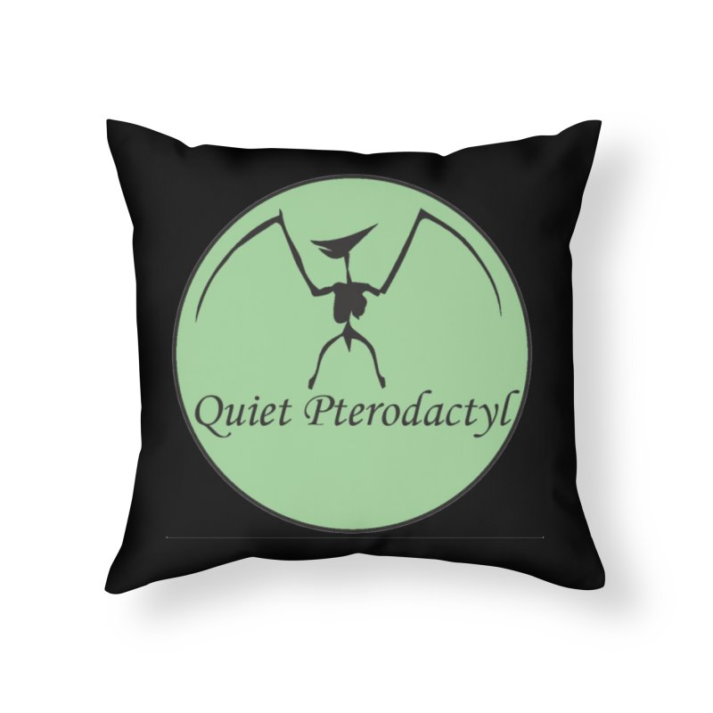 Quiet Pterodactyl Round Logo Green/Black Home Throw Pillow by Quiet Pterodactyl Shop