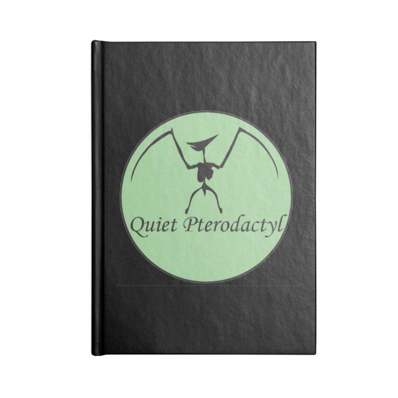 Quiet Pterodactyl Round Logo Green/Black Accessories Notebook by Quiet Pterodactyl Shop