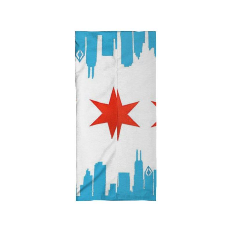 Chicago Flag skyline by Jared Haberman Accessories Neck Gaiter by Quiet Pterodactyl Shop