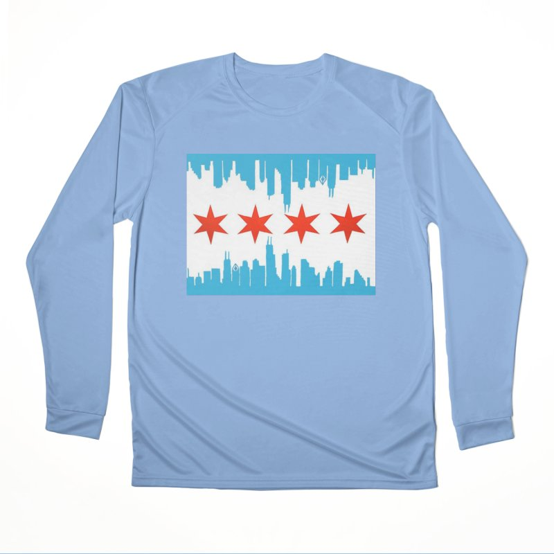 Chicago Flag skyline by Jared Haberman Men's Longsleeve T-Shirt by Quiet Pterodactyl Shop