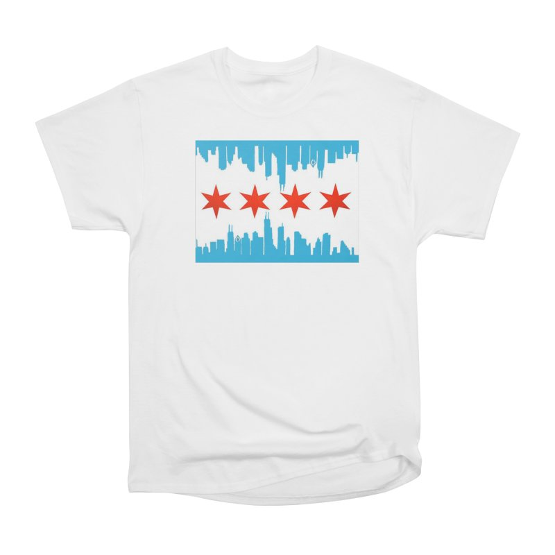 Chicago Flag skyline by Jared Haberman Women's T-Shirt by Quiet Pterodactyl Shop