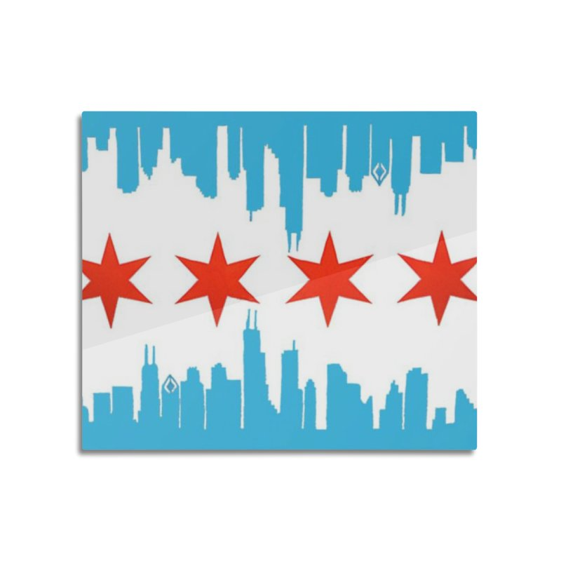 Chicago Flag skyline by Jared Haberman Home Mounted Acrylic Print by Quiet Pterodactyl Shop