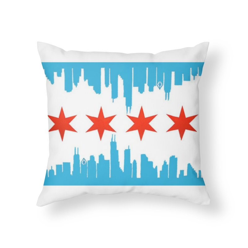 Chicago Flag skyline by Jared Haberman Home Throw Pillow by Quiet Pterodactyl Shop