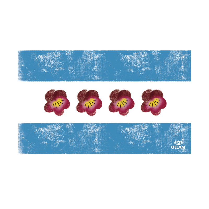Chicago Flower Flag with Violets by Ollam Women's T-Shirt by Quiet Pterodactyl Shop
