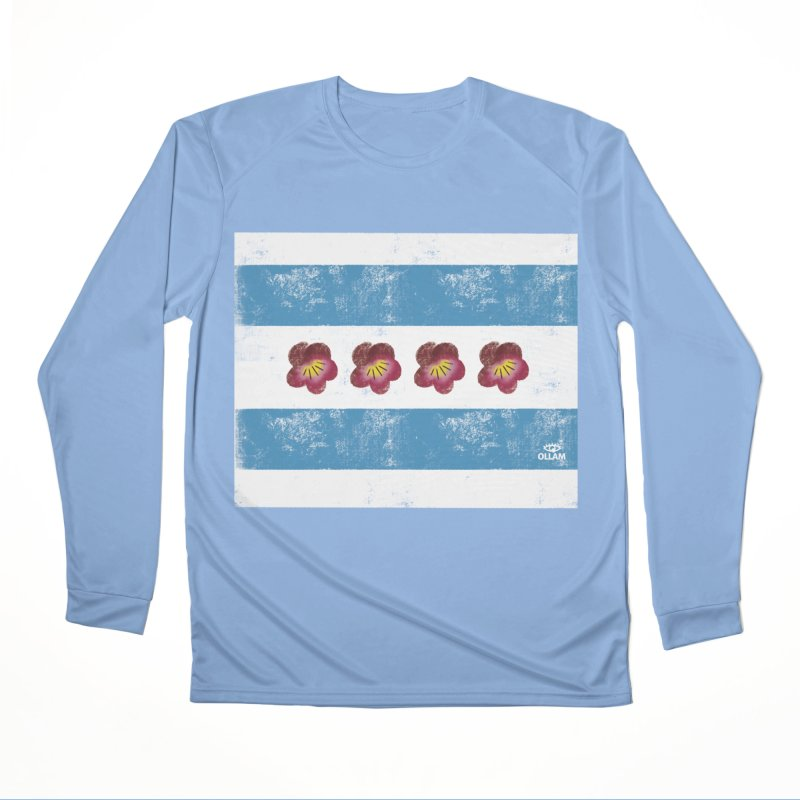 Chicago Flower Flag with Violets by Ollam Men's Longsleeve T-Shirt by Quiet Pterodactyl Shop