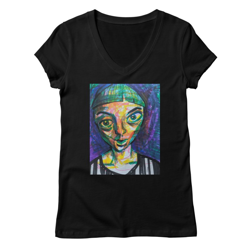 All Portraits are Self Portraits 1 by  Danielle Pontarelli Women's V-Neck by Quiet Pterodactyl Shop