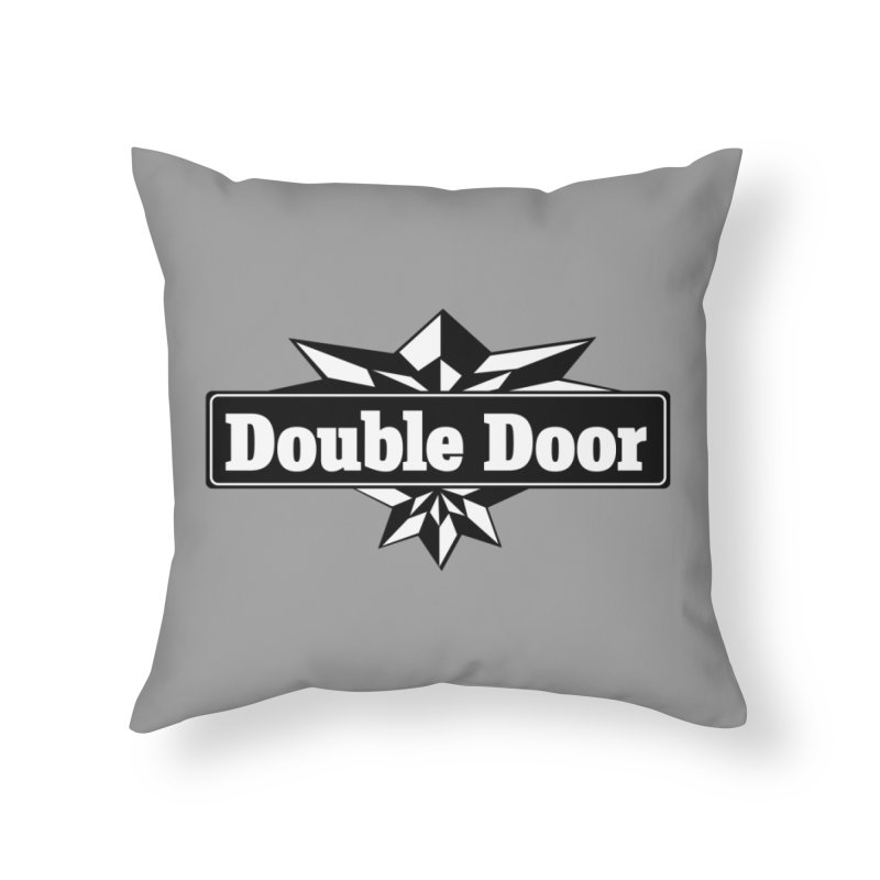 Double Door logo B&W - Sales EXTENDED! Home Throw Pillow by Quiet Pterodactyl Shop