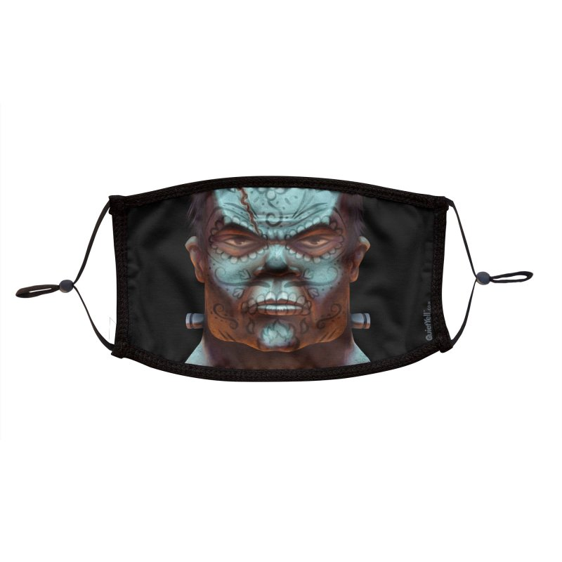 Dia De Monstruos : Frankenstein (Close-Up) Accessories Face Mask by QuietYell's Artist Shop