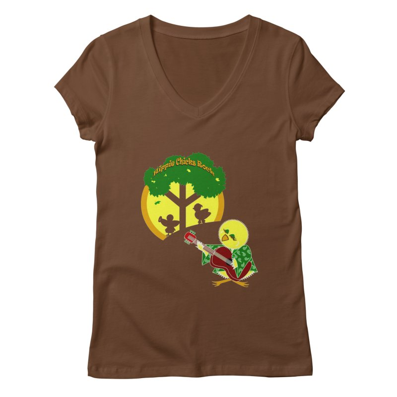Hippie Chicks Rock Women's V-Neck by Quillhound