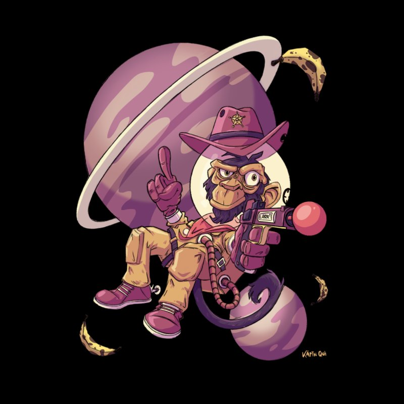Space Monkey Cowboy Men's T-Shirt by Quillustration