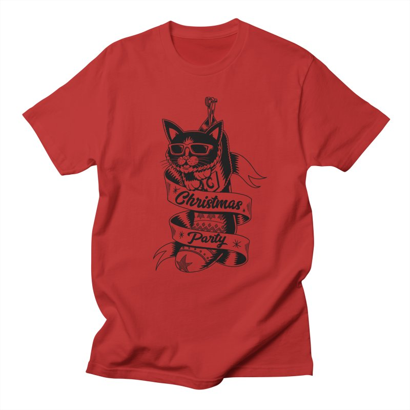 Christmas Cat Men's T-shirt by QUINTO C Artist Shop