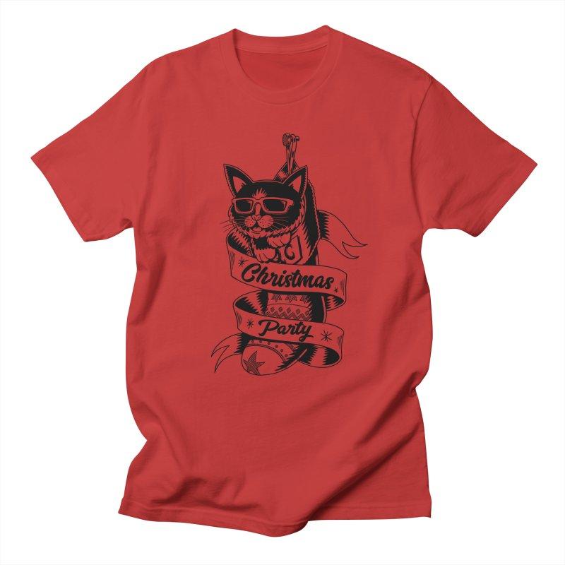 Christmas Cat Men's T-shirt by QUINTO C Artist Shop