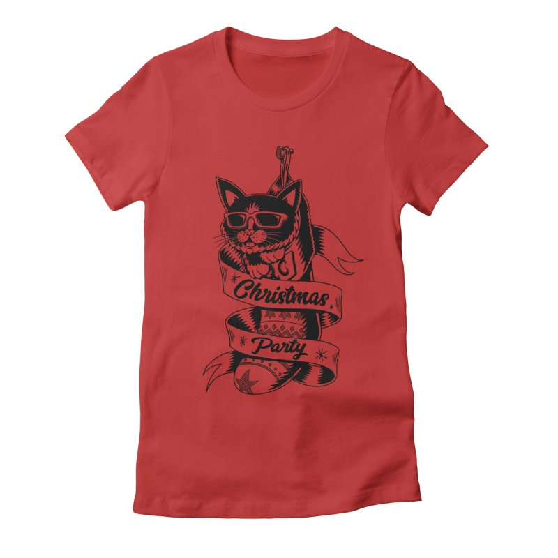 Christmas Cat Women's Fitted T-Shirt by QUINTO C Artist Shop