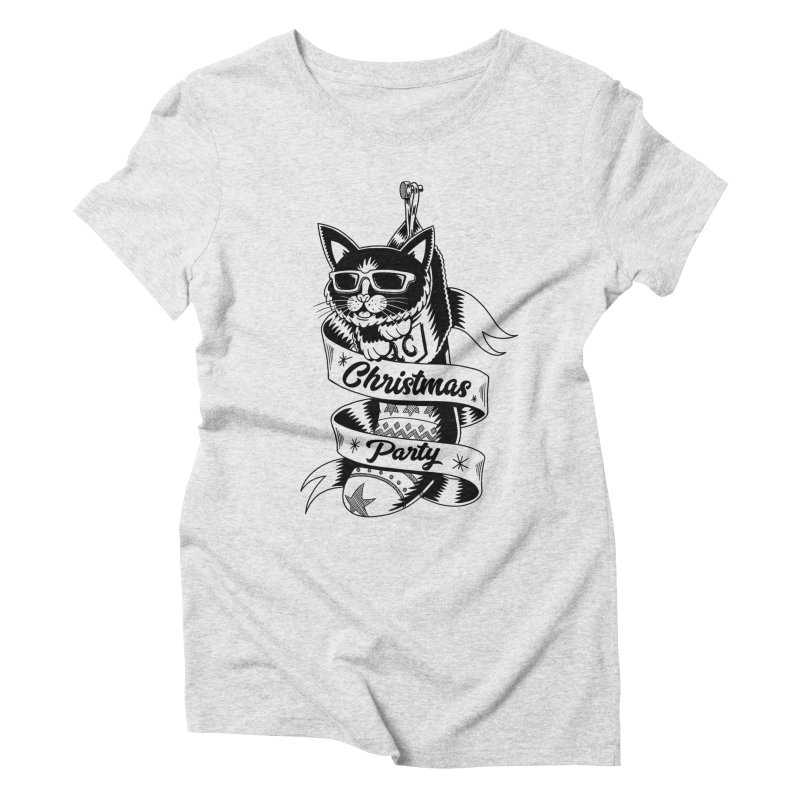 Christmas Cat Women's Triblend T-Shirt by QUINTO C Artist Shop
