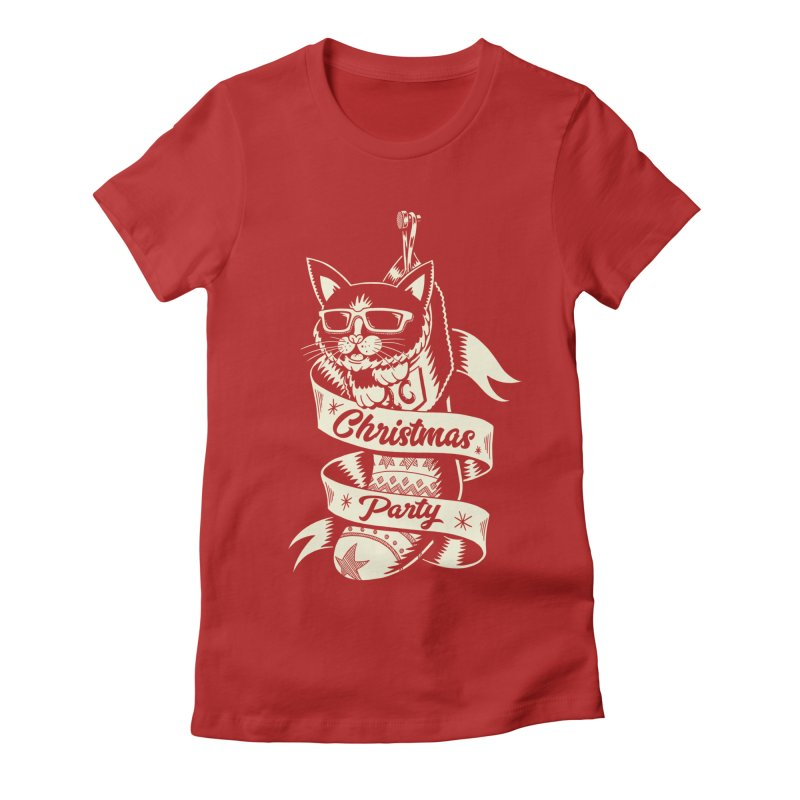 Christmas Cat 2 Women's Fitted T-Shirt by QUINTO C Artist Shop