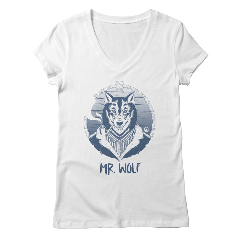 Mr. Wolf Women's V-Neck by QUINTO C Artist Shop