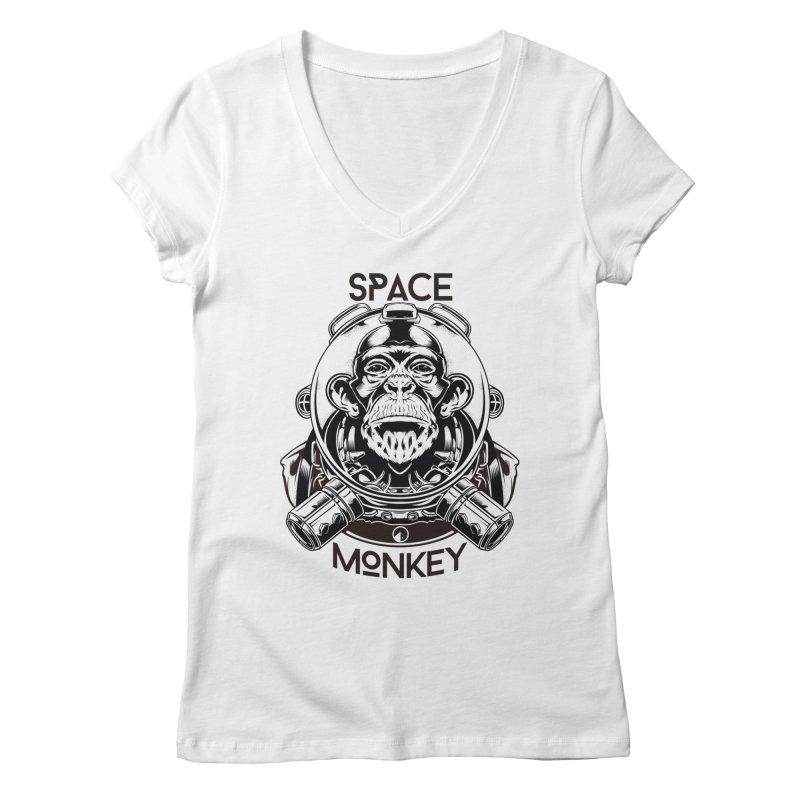 Space Monkey Women's V-Neck by QUINTO C Artist Shop