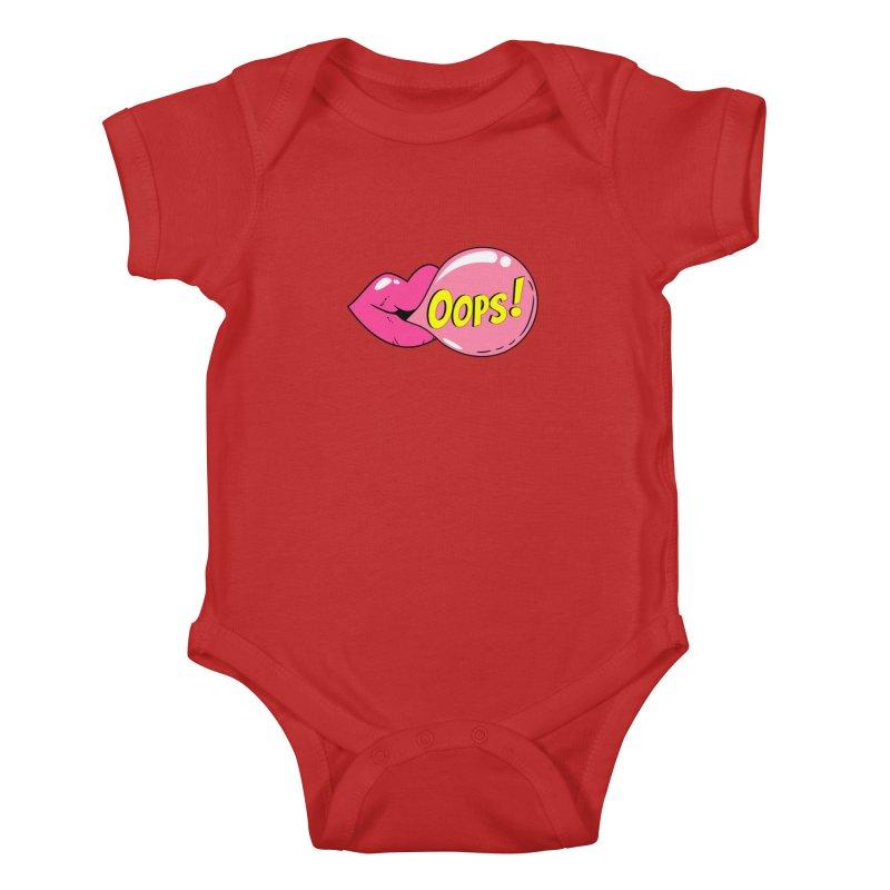 Bubblegum Oops Kids Baby Bodysuit by Quirkitup's Artist Shop