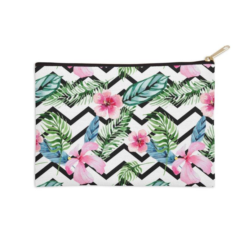 Floral Chevron Accessories Zip Pouch by Quirkitup's Artist Shop