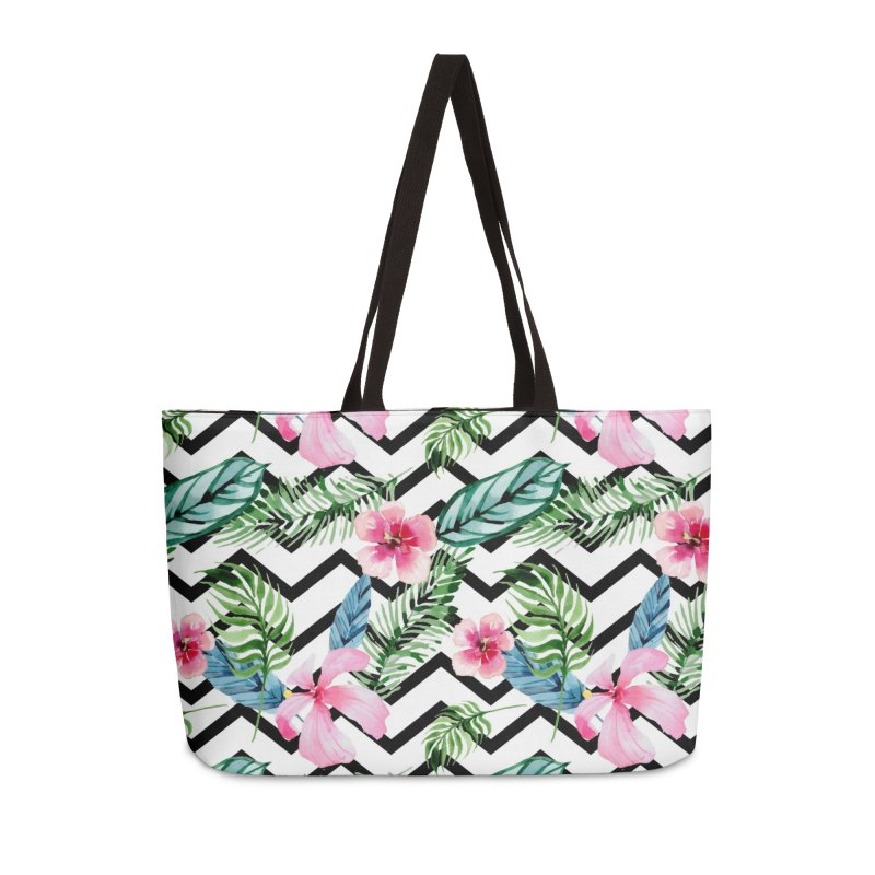 Floral Chevron Accessories Weekender Bag Bag by Quirkitup's Artist Shop