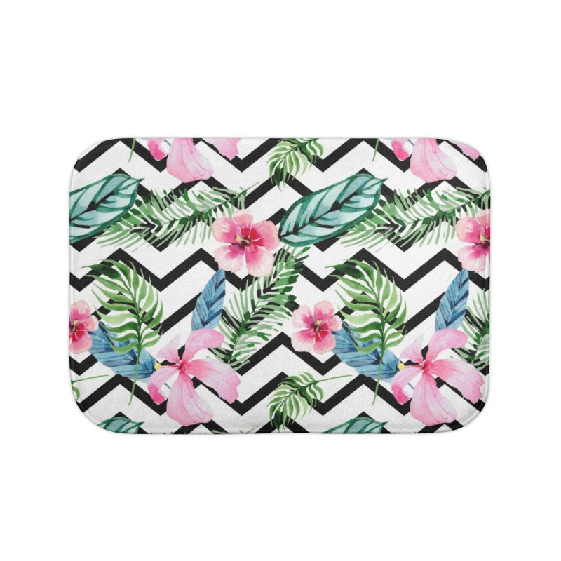 Floral Chevron Home Bath Mat by Quirkitup's Artist Shop