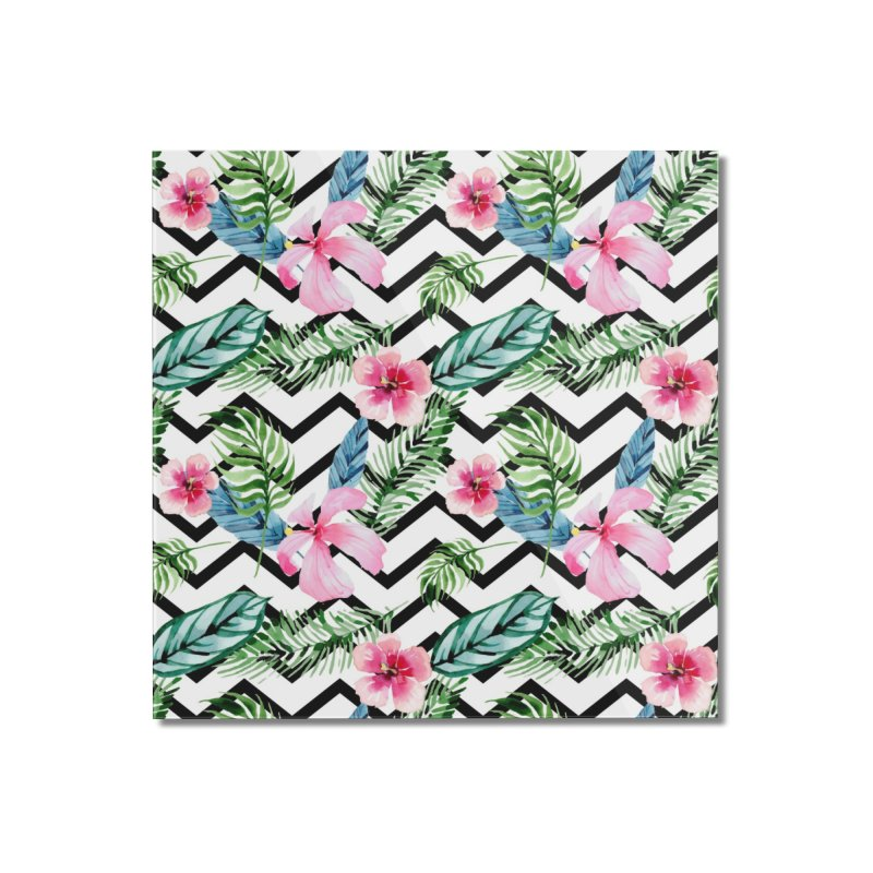 Floral Chevron Home Mounted Acrylic Print by Quirkitup's Artist Shop