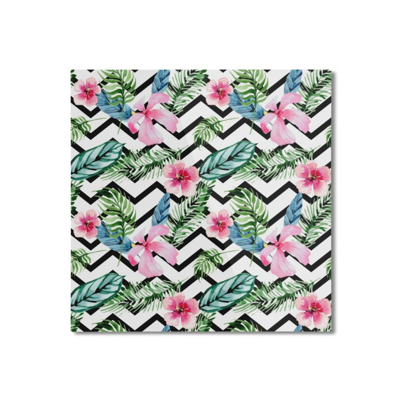 Floral Chevron Home Mounted Aluminum Print by Quirkitup's Artist Shop