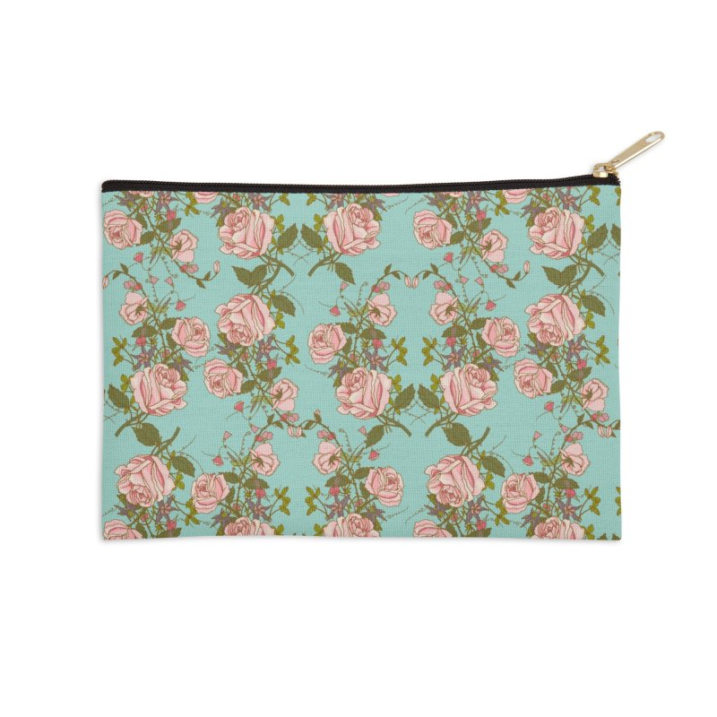 Vintage Rosy Floral Accessories Zip Pouch by Quirkitup's Artist Shop