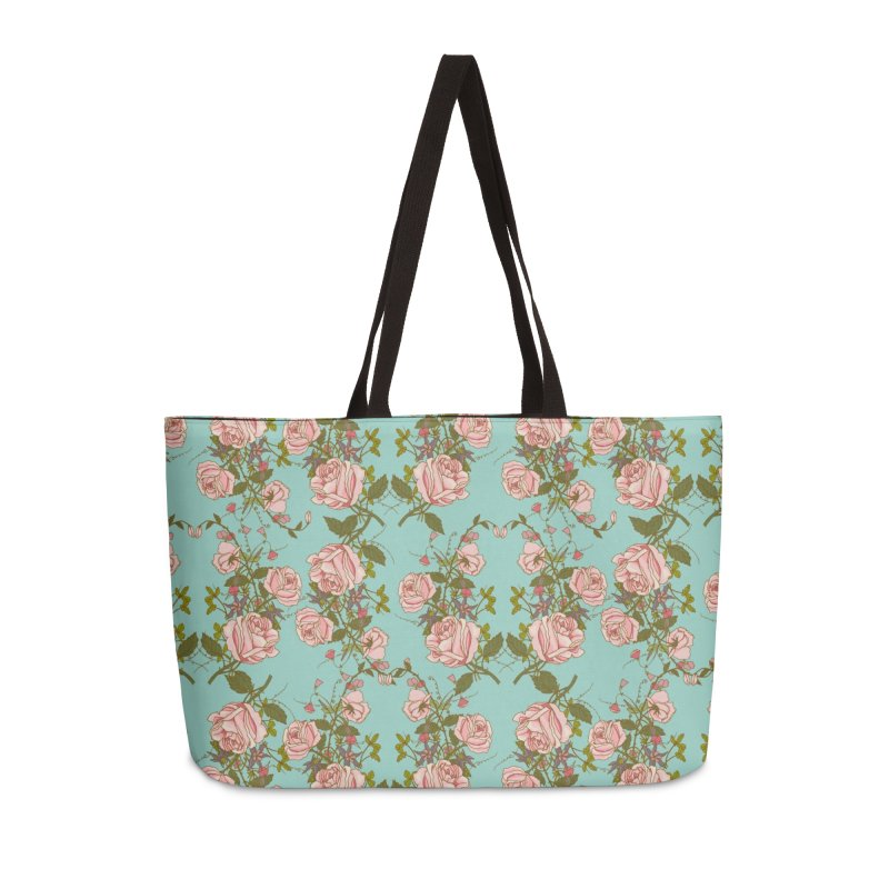 Vintage Rosy Floral Accessories Weekender Bag Bag by Quirkitup's Artist Shop