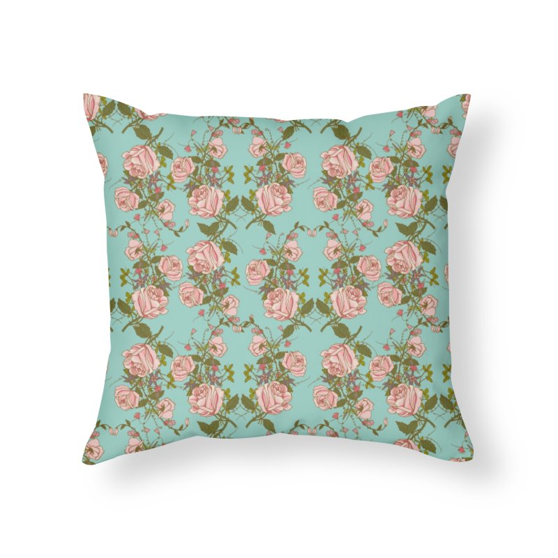 Vintage Rosy Floral Home Throw Pillow by Quirkitup's Artist Shop