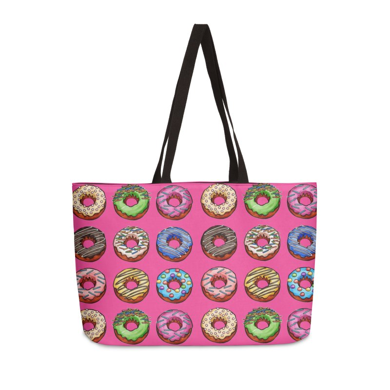 Donut Pattern Accessories Weekender Bag Bag by Quirkitup's Artist Shop