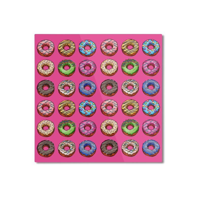 Donut Pattern Home Mounted Aluminum Print by Quirkitup's Artist Shop