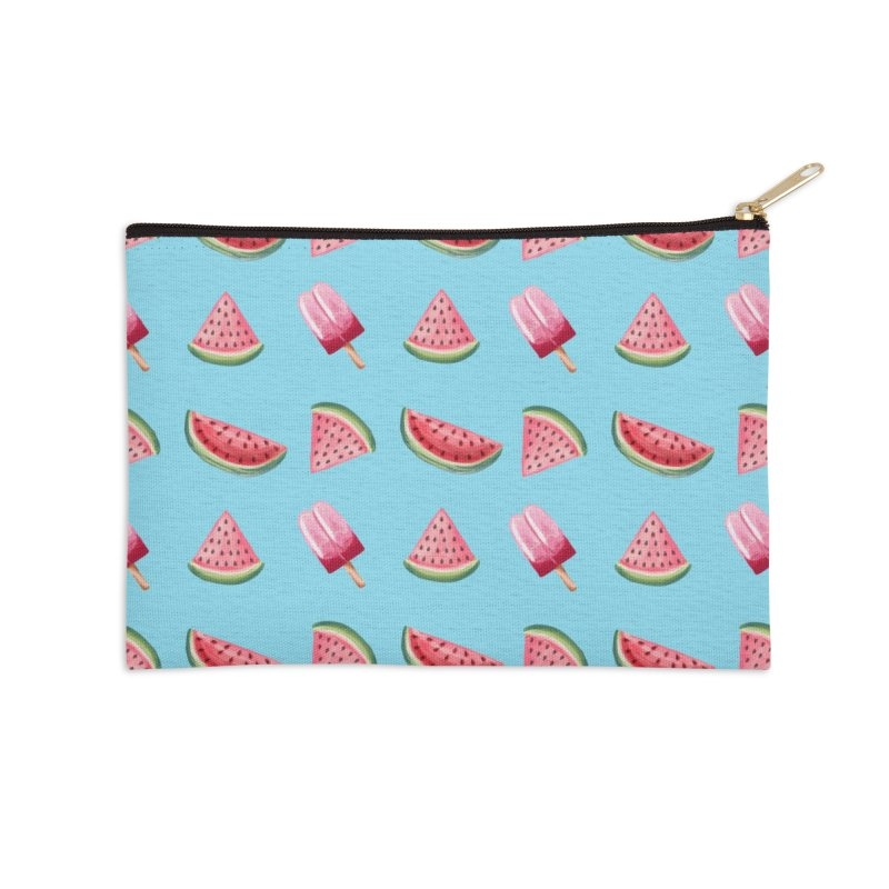 Watermelon Popsicle Pattern Accessories Zip Pouch by Quirkitup's Artist Shop