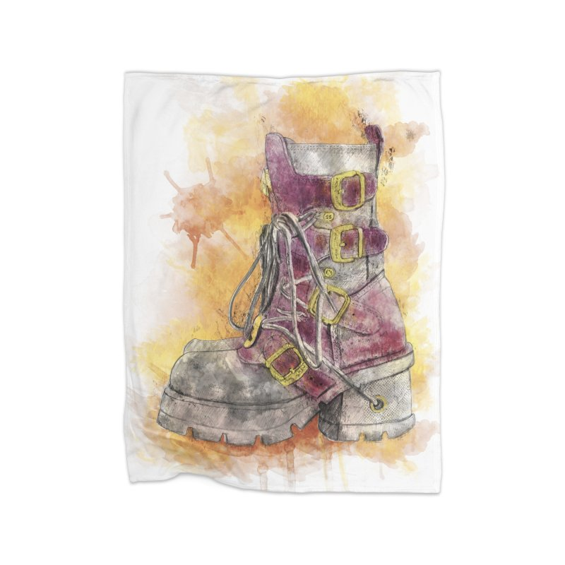 Boots Home Fleece Blanket Blanket by StuffByRabassa Artist Shop