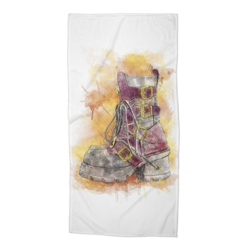 Boots Accessories Beach Towel by StuffByRabassa Artist Shop