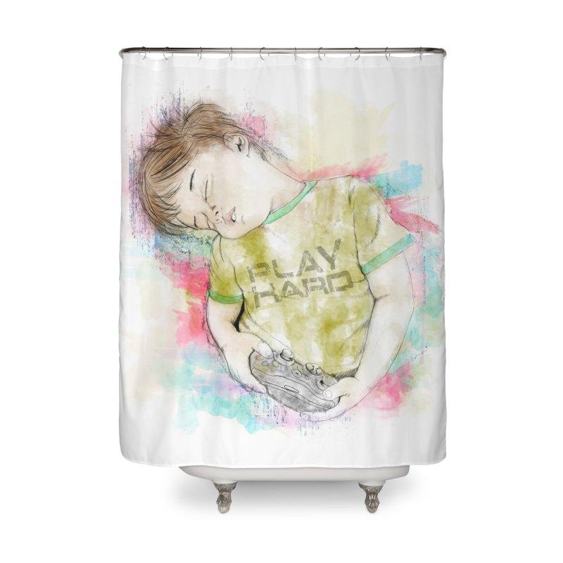 Play Hard Home Shower Curtain by StuffByRabassa Artist Shop
