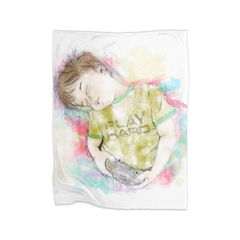 Play Hard Home Fleece Blanket Blanket by StuffByRabassa Artist Shop