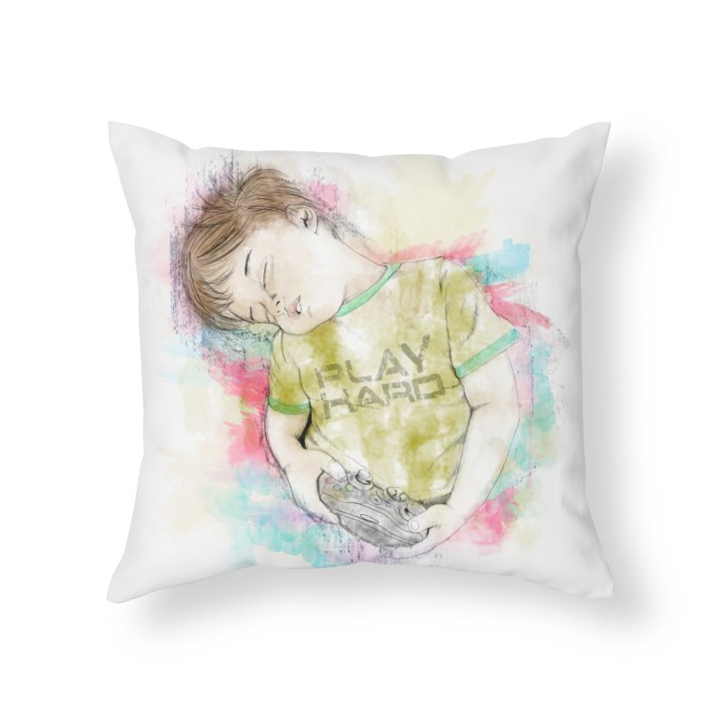 Play Hard Home Throw Pillow by StuffByRabassa Artist Shop