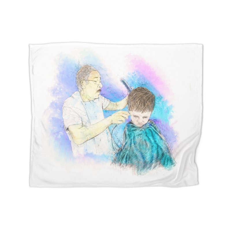 The Haircut Home Fleece Blanket Blanket by StuffByRabassa Artist Shop