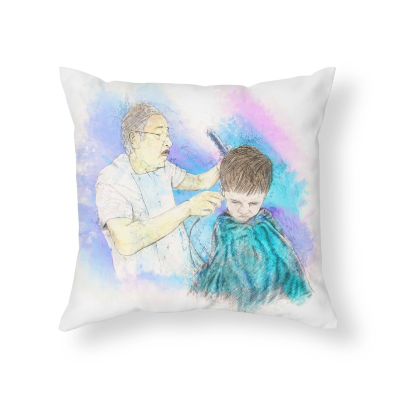 The Haircut Home Throw Pillow by StuffByRabassa Artist Shop