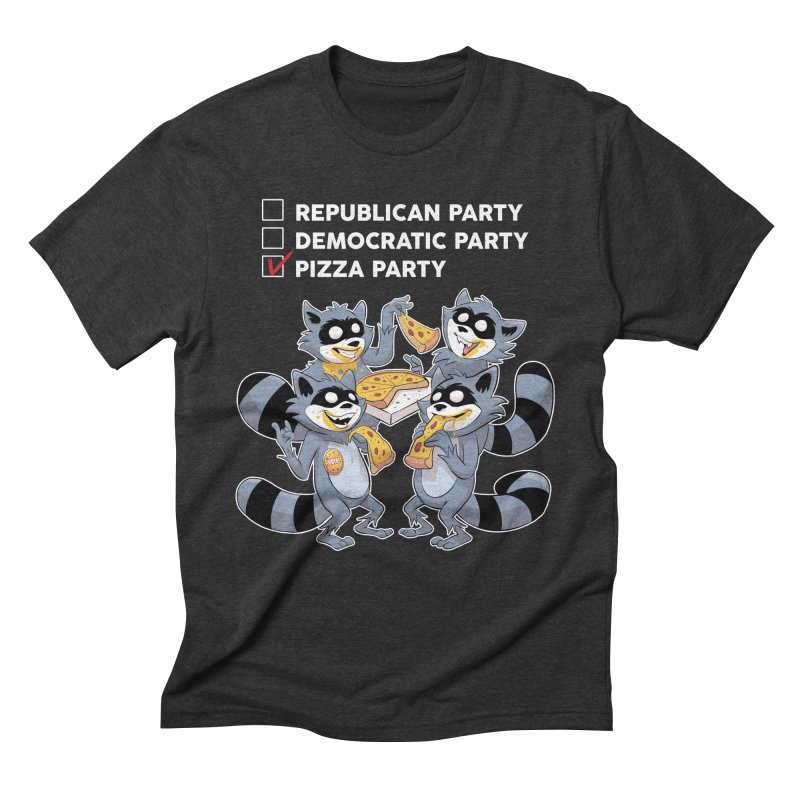 Pizza Party Men's Triblend T-Shirt by Raccoon Brand