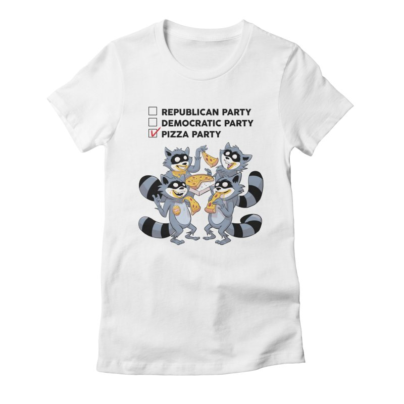 Pizza Party Women's Fitted T-Shirt by Raccoon Brand