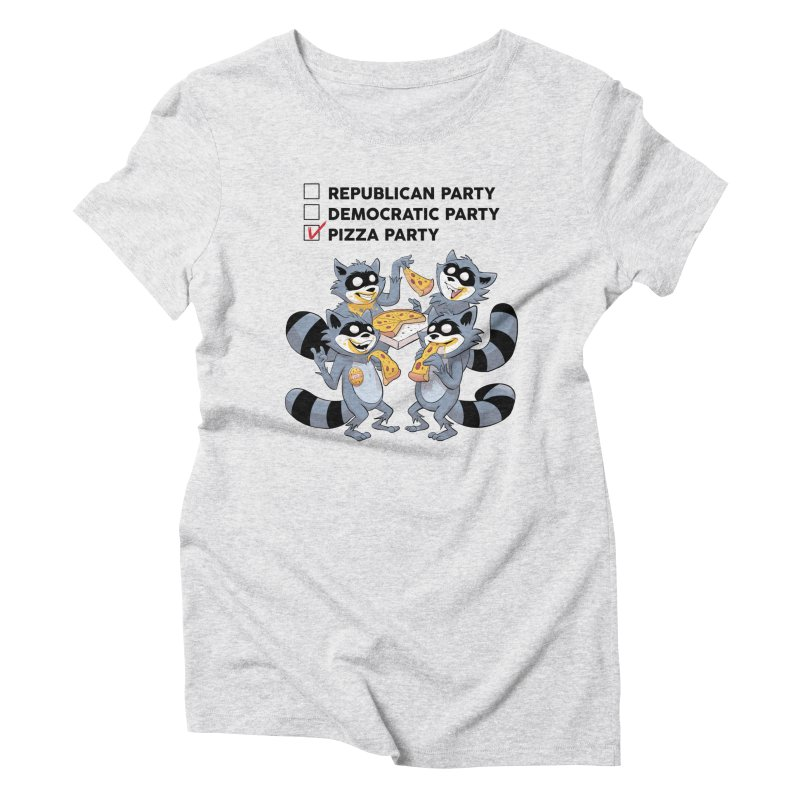 Pizza Party Women's Triblend T-Shirt by Raccoon Brand