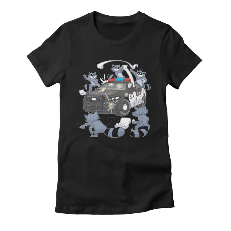 Midnight Mischief Women's Fitted T-Shirt by Raccoon Brand