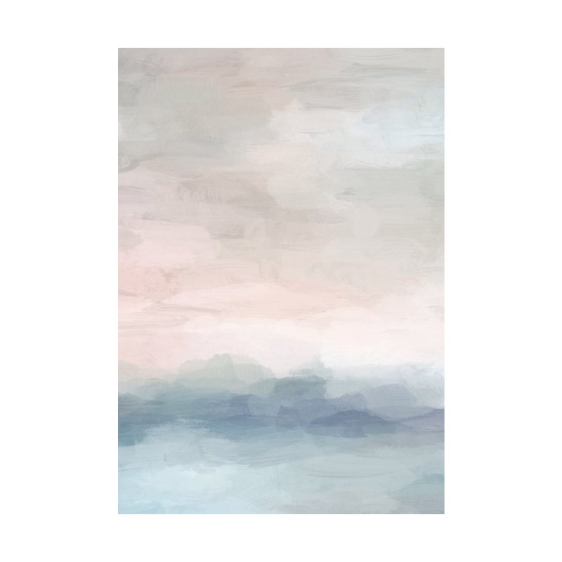 Blush Pink Clouds Baby Blue Ocean Horizon Sunrise Abstract Art Painting by racheleliseart's Artist Shop