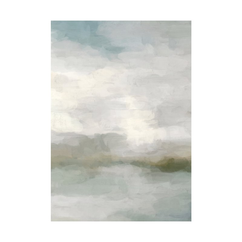 Light Teal Sage Green Gray Abstract Painting Modern Wall Art Ocean Nature Cloudy Weather by racheleliseart's Artist Shop