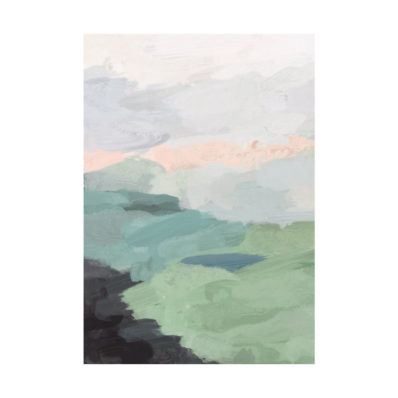 Sage Green Blush Pink Black Sunset Farm Grass Country Abstract Painting Art by racheleliseart's Artist Shop
